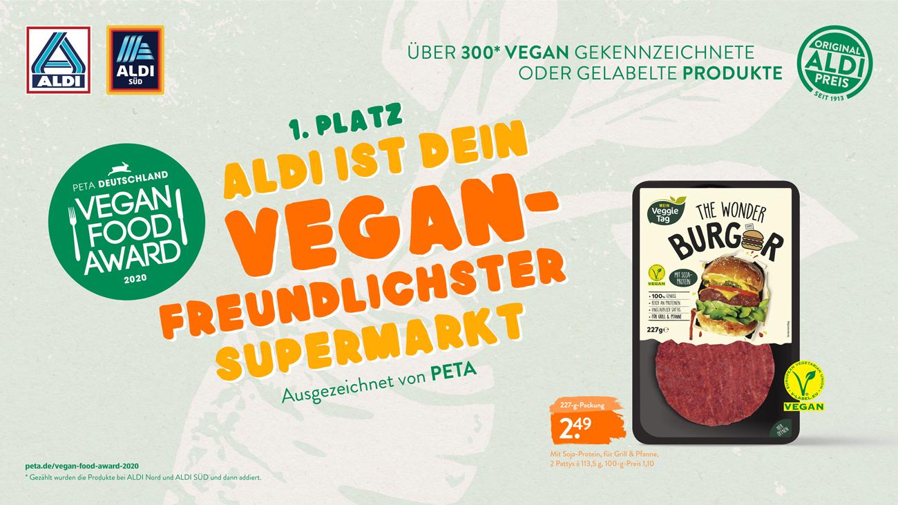 """,,Vegan freundlichster Supermarkt"""": ALDI Nord und ALDI SÜD wurden von PETA mit dem ,,Vegan Food Award 2020″ als ausgezeichnet."""