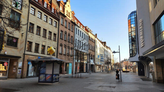 leere Fussgängerzone in Nürnberg